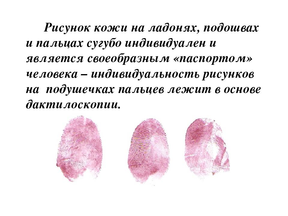 Рисунок кожи на подушечках пальцев обусловлен