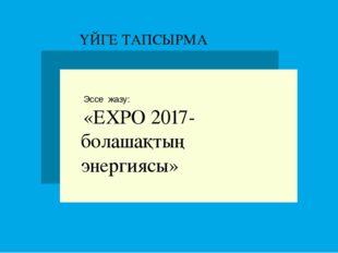 Эссе жазу: «ЕХРО 2017-болашақтың энергиясы» ҮЙГЕ ТАПСЫРМА
