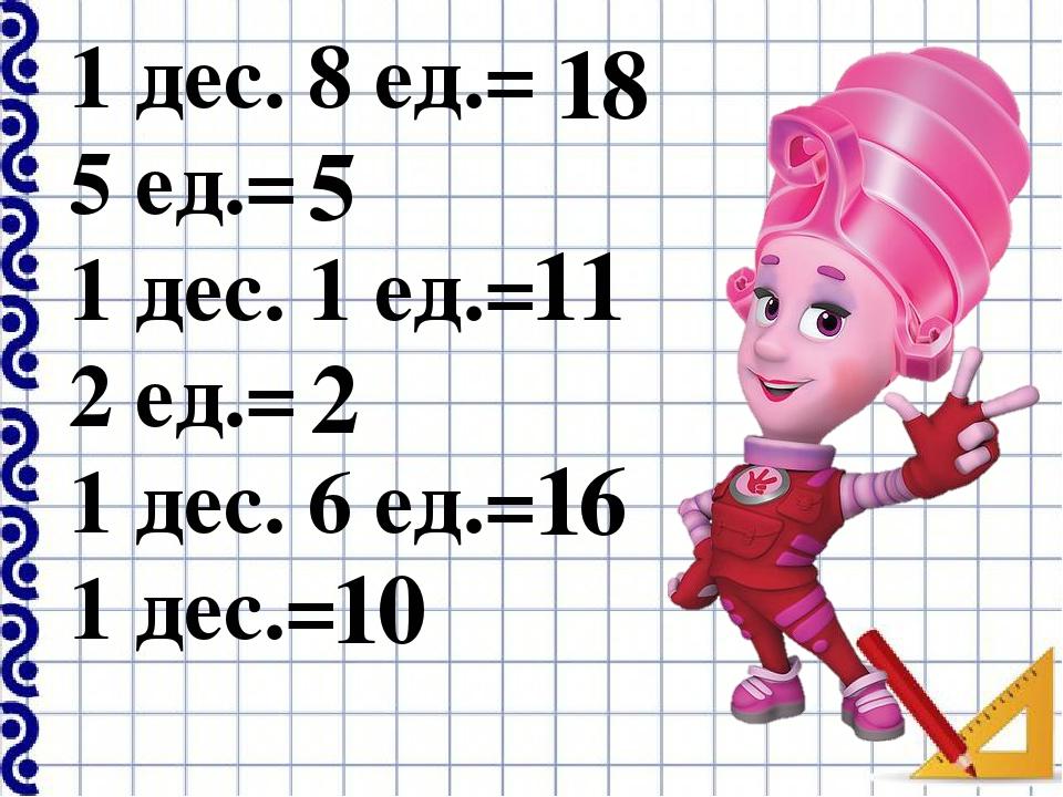 1 дес. 8 ед.= 5 ед.= 1 дес. 1 ед.= 2 ед.= 1 дес. 6 ед.= 1 дес.= 18 16 2 11 5 10