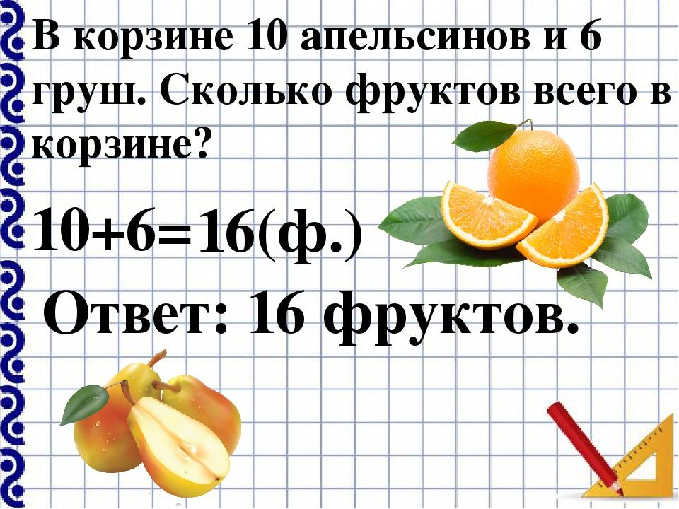 В корзине 10 апельсинов и 6 груш. Сколько фруктов всего в корзине? 10+6= 16(ф...