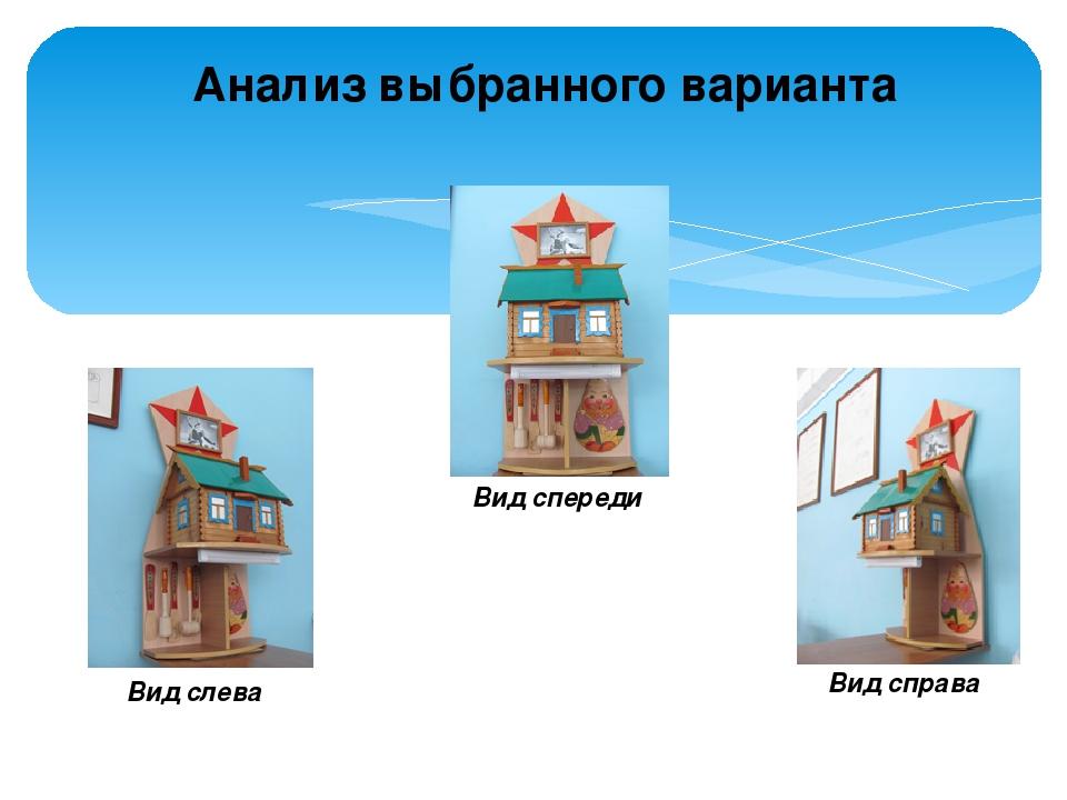Анализ выбранного варианта Вид спереди Вид справа Вид слева