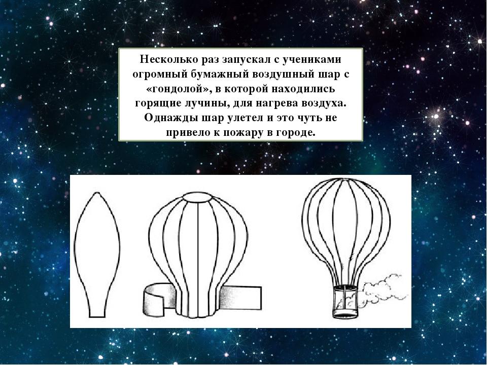 Несколько раз запускал с учениками огромный бумажный воздушный шар с «гондоло...