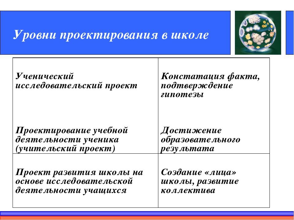 Уровни проектирования в школе Ученический исследовательский проектКонстатаци...