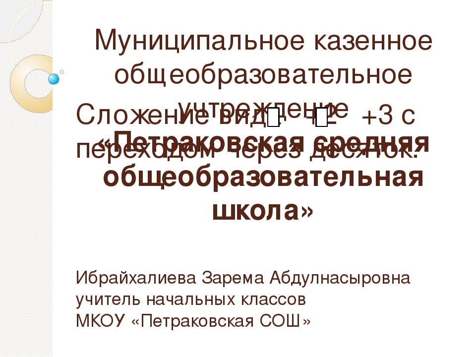 Сложение вида +2 +3 с переходом через десяток. Ибрайхалиева Зарема Абдулнасыр...
