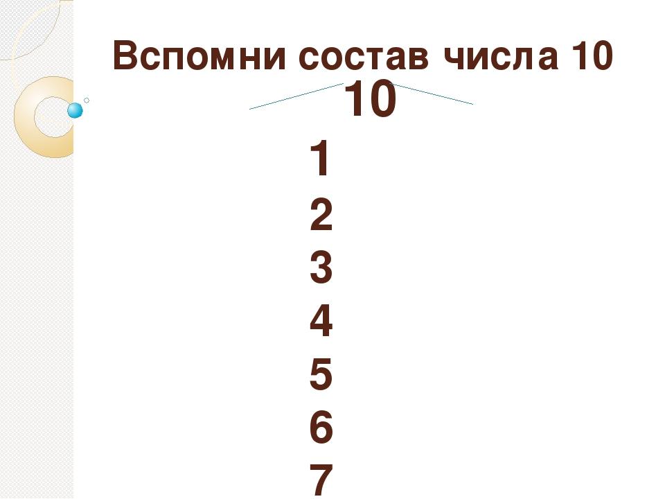 Вспомни состав числа 10 10 1 2 3 4 5 6 7 8 9