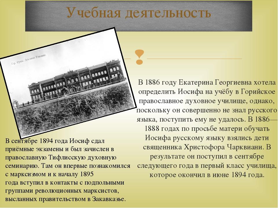 В1886 годуЕкатерина Георгиевна хотела определить Иосифа на учёбу вГорийско...