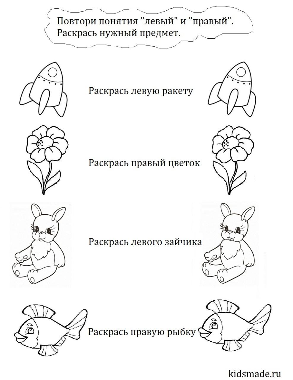 Понятия справа и слева на картинке
