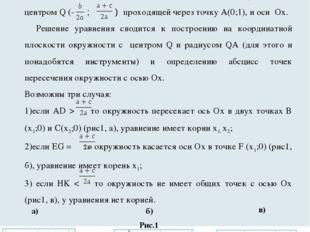Решение квадратных уравнений с помощью циркуля и линейки. Корни квадратного у