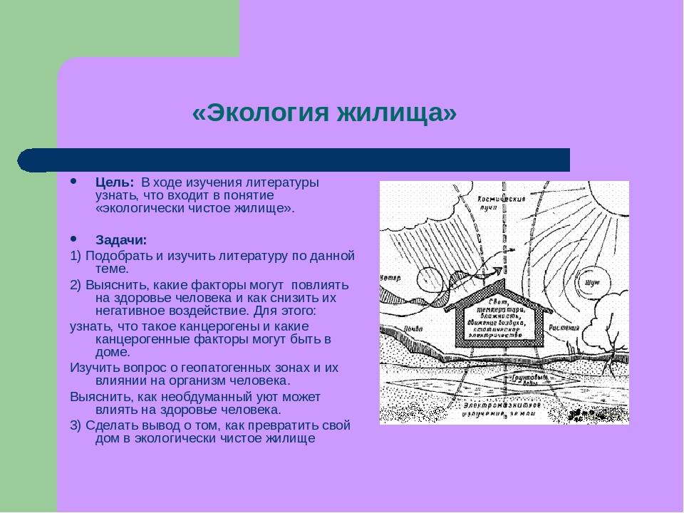 «Экология жилища» Цель: В ходе изучения литературы узнать, что входит в понят...