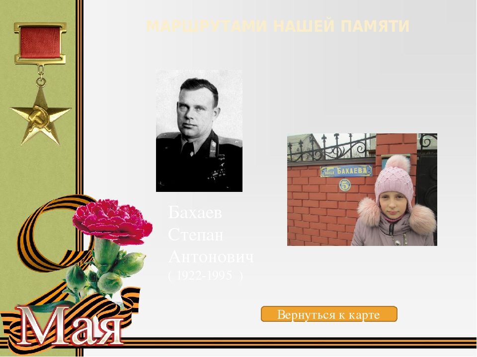 МАРШРУТАМИ НАШЕЙ ПАМЯТИ Бурлаков Иван Семенович (1918-1945) Вернуться к карте