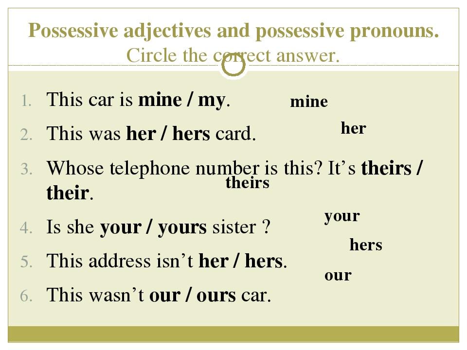 Elementary grammar exercise possessive adjectives