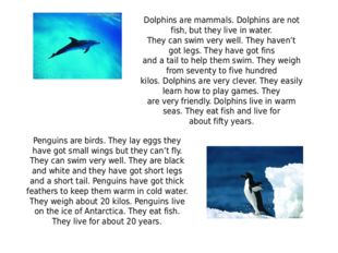 Dolphins are mammals. Dolphins are not fish, but they live in water. They ca