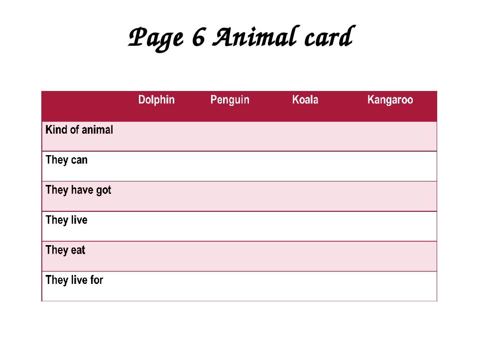 Page 6 Animal card