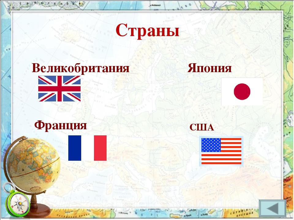 Страны Великобритания Франция Япония США