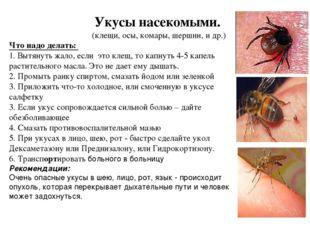 Укусы насекомыми. (клещи, осы, комары, шершни, и др.) Что надо делать: 1. В