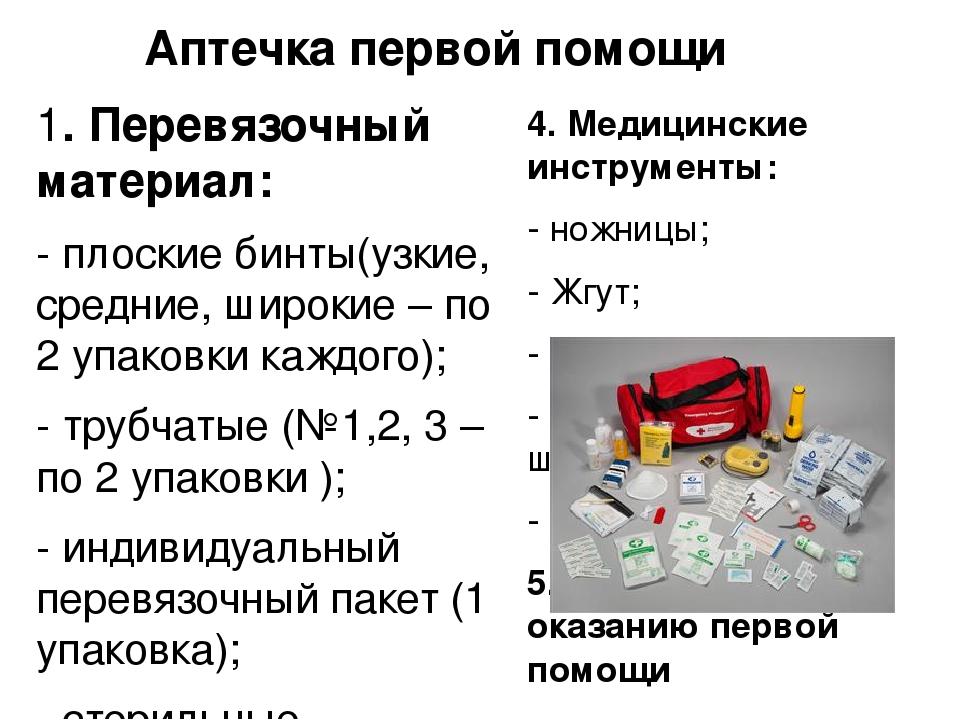Аптечка первой помощи 1. Перевязочный материал: - плоские бинты(узкие, средни...