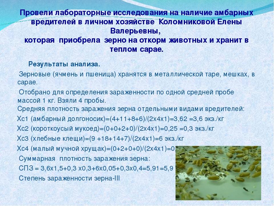Провели лабораторные исследования на наличие амбарных вредителей в личном хоз...