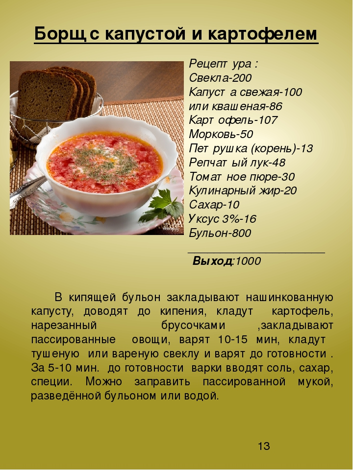 рецепт русского борща со свеклой и капустой