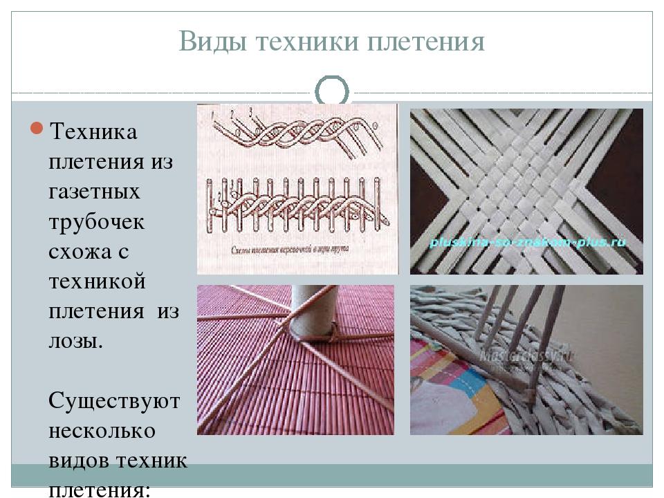 Виды техники плетения Техника плетения из газетных трубочек схожа с техникой...