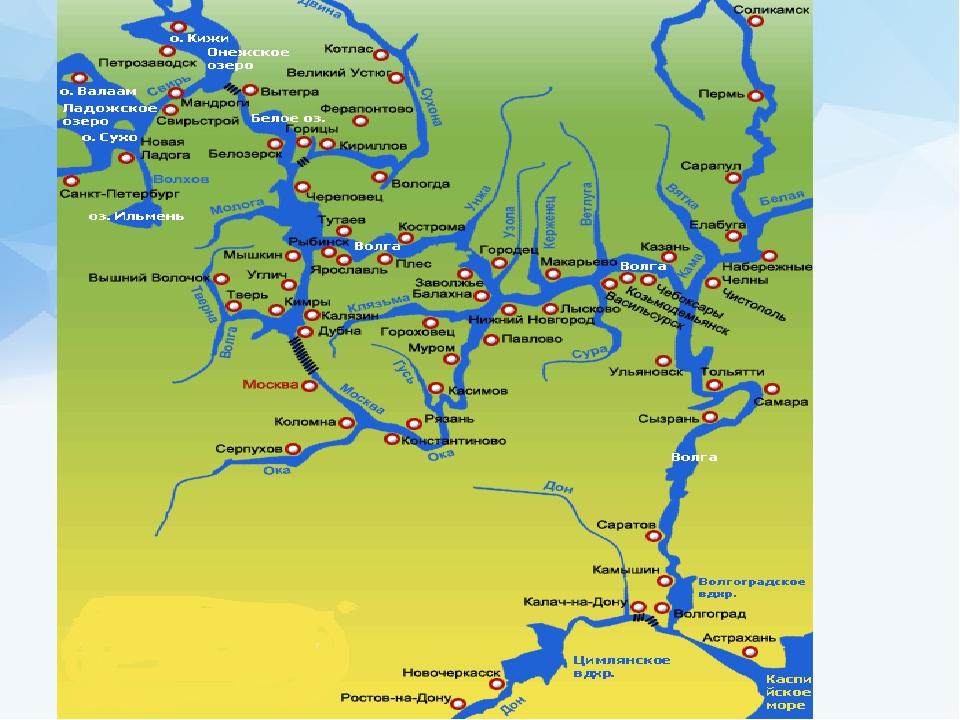 Волга на карте россии от истока