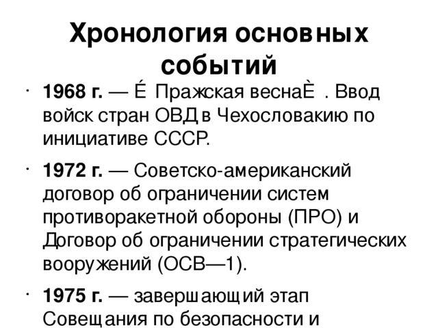 Хронология основных событий 1968 г. — ≪Пражская весна≫. Ввод войск стран ОВД...