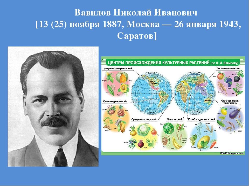 Вавилов Николай Иванович [13 (25) ноября 1887, Москва — 26 января 1943, Сарат...