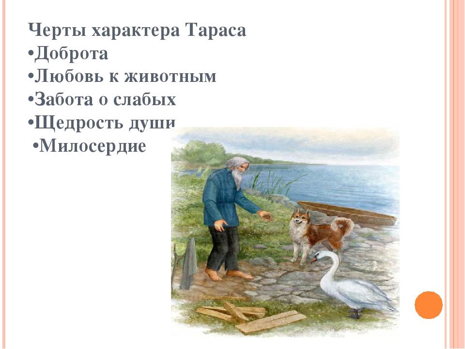 Черты характера Тараса •Доброта •Любовь к животным •Забота о слабых •Щедрость...