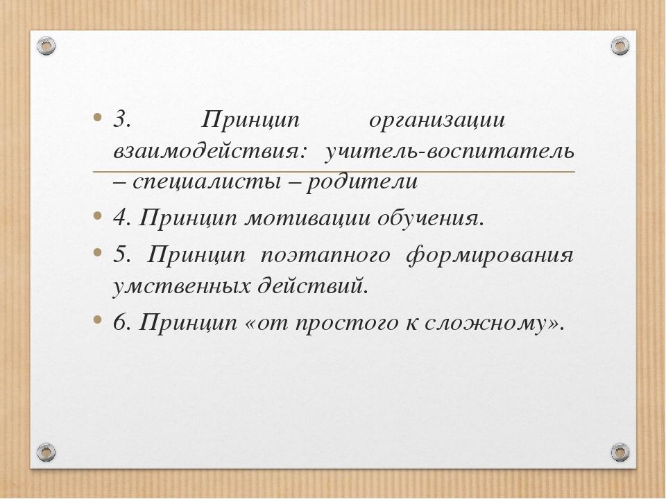 3. Принцип организации взаимодействия: учитель-воспитатель – специалисты – ро...