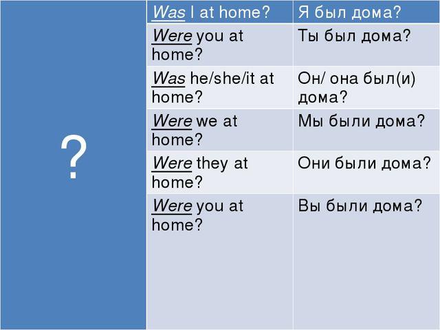 ? WasI at home? Я был дома? Wereyou at home? Ты был дома? Washe/she/itat hom...