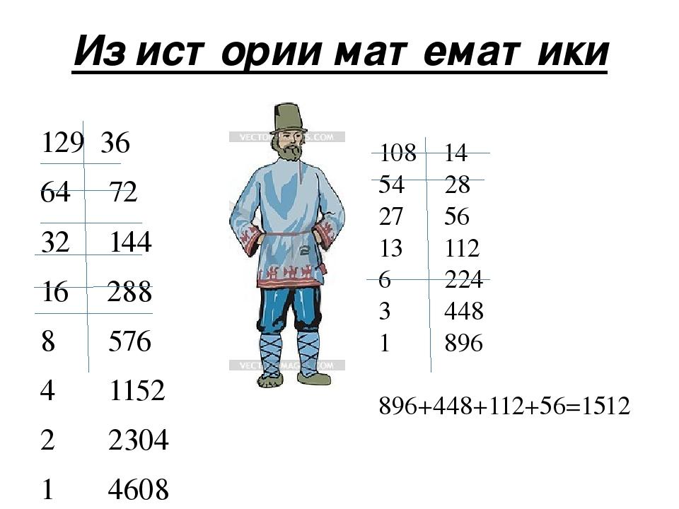 Из истории математики 129 36 64 72 32 144 16 288 8 576 4 1152 2 2304 1 4608 4...