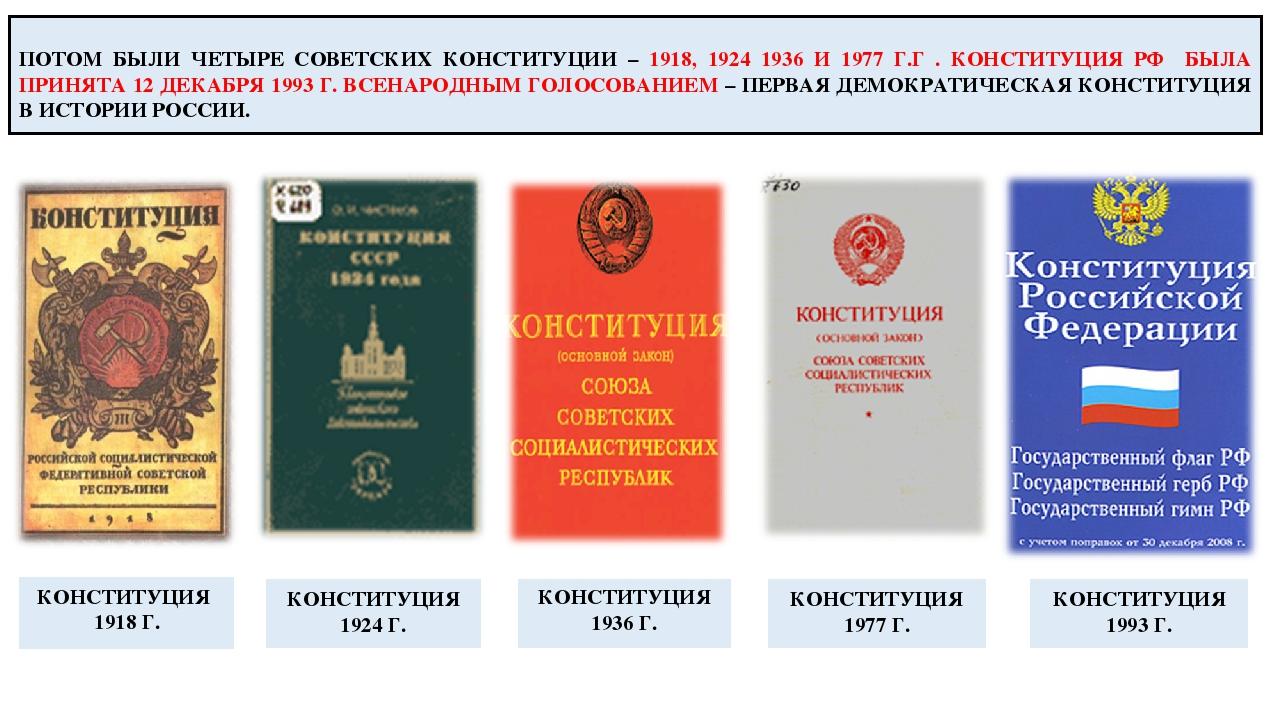 ПОТОМ БЫЛИ ЧЕТЫРЕ СОВЕТСКИХ КОНСТИТУЦИИ – 1918, 1924 1936 И 1977 Г.Г . КОНСТ...