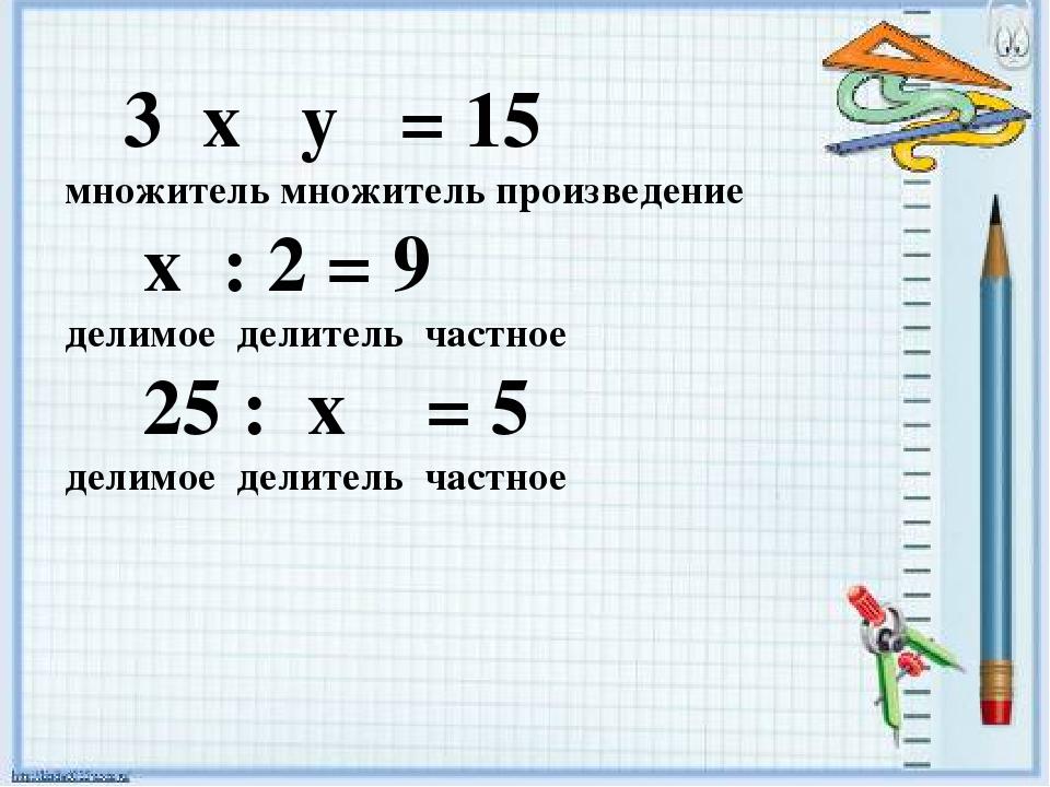3 x y = 15 множитель множитель произведение x : 2 = 9 делимое делитель частн...