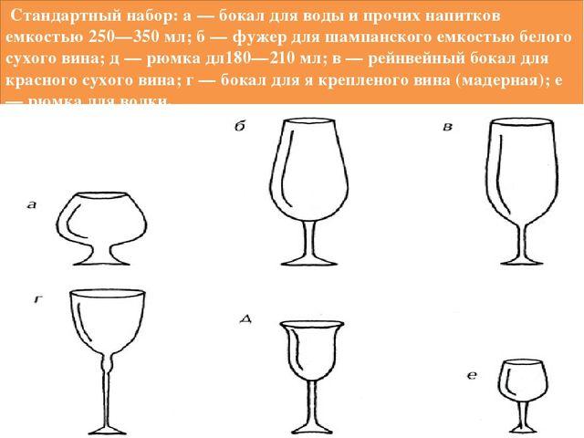 Стандартный набор: а — бокал для воды и прочих напитков емкостью 250—350 мл;...