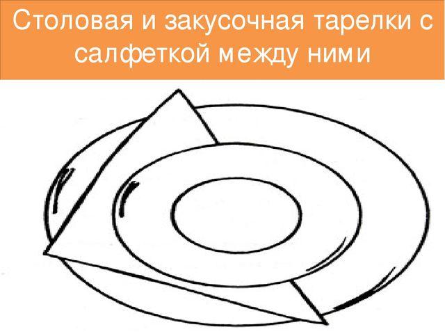 Столовая и закусочная тарелки с салфеткой между ними