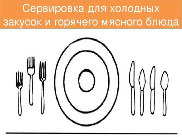 Сервировка для холодных закусок и горячего мясного блюда
