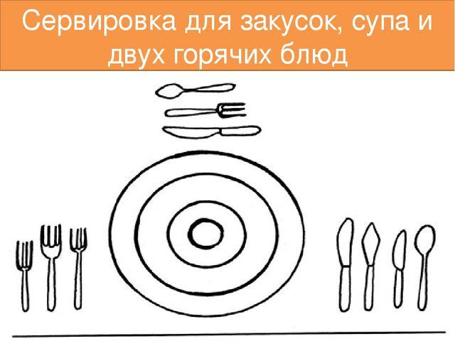 Сервировка для закусок, супа и двух горячих блюд