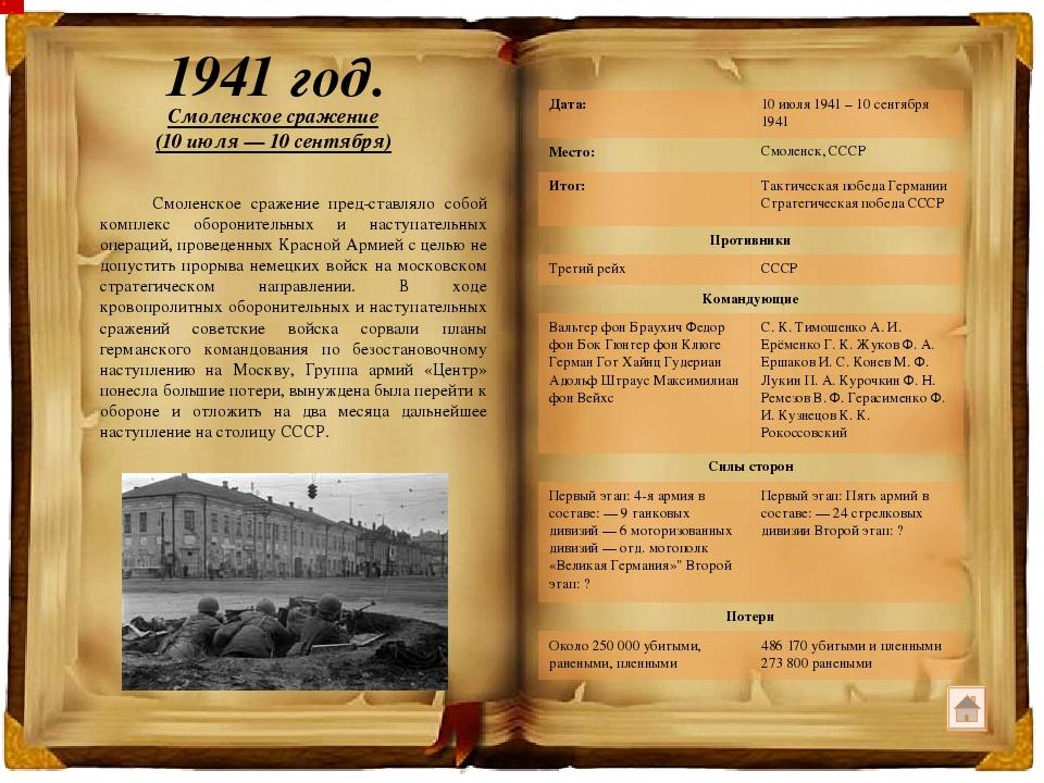 1943 год. Смоленская наступательная операция (7 августа – 2 октября) Смоленс...