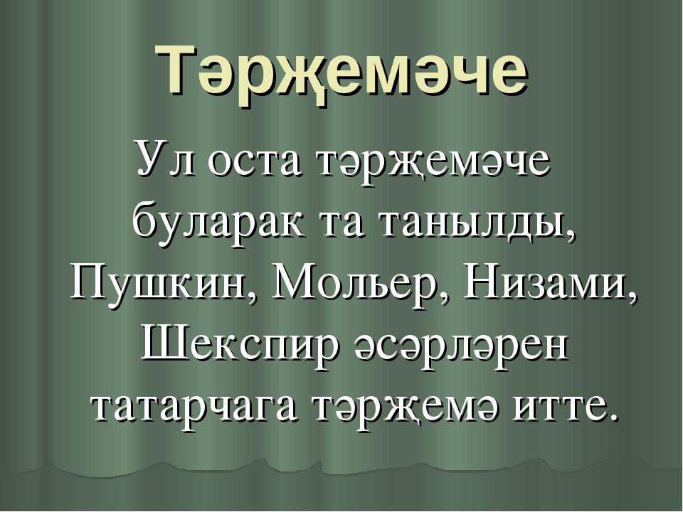 Тәрҗемәче Ул оста тәрҗемәче буларак та танылды, Пушкин, Мольер, Низами, Шексп...
