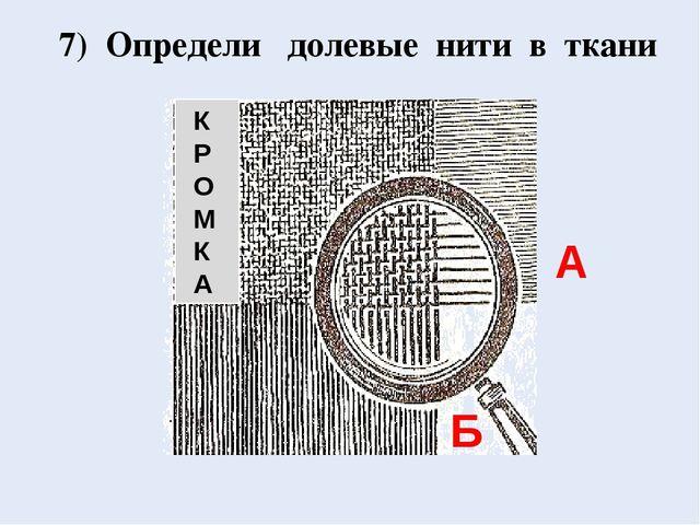 К Р О М К А 7) Определи долевые нити в ткани А Б