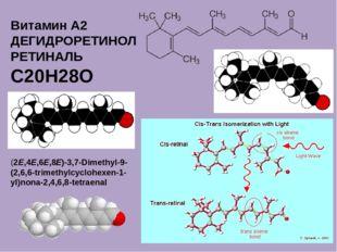 Витамин A2 ДЕГИДРОРЕТИНОЛ РЕТИНАЛЬ C20H28O (2E,4E,6E,8E)-3,7-Dimethyl-9-(2,6,