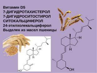 Витамин D5 7-ДИГИДРОТАХИСТЕРОЛ 7-ДИГИДРОСИТОСТИРОЛ СИТОКАЛЬЦИФЕРОЛ 24-этилхол