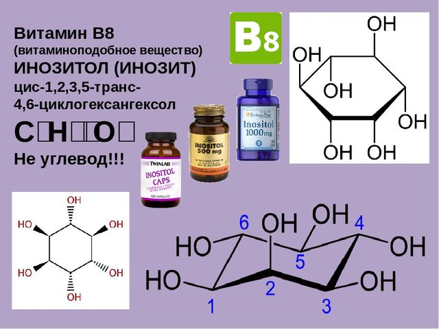 Витамин B8 (витаминоподобное вещество) ИНОЗИТОЛ (ИНОЗИТ) цис-1,2,3,5-транс- 4...