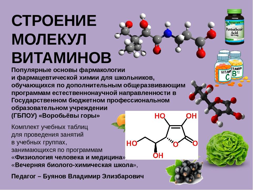 СТРОЕНИЕ МОЛЕКУЛ ВИТАМИНОВ Популярные основы фармакологии и фармацевтической...