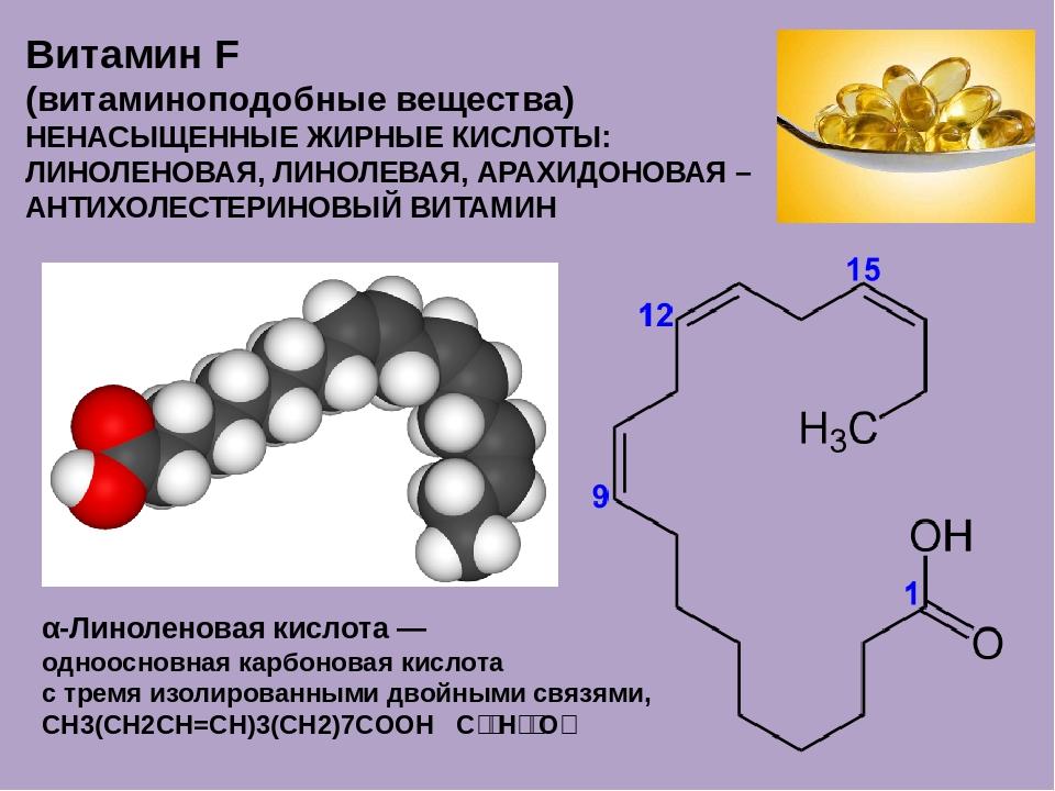 Витамин F (витаминоподобные вещества) НЕНАСЫЩЕННЫЕ ЖИРНЫЕ КИСЛОТЫ: ЛИНОЛЕНОВА...