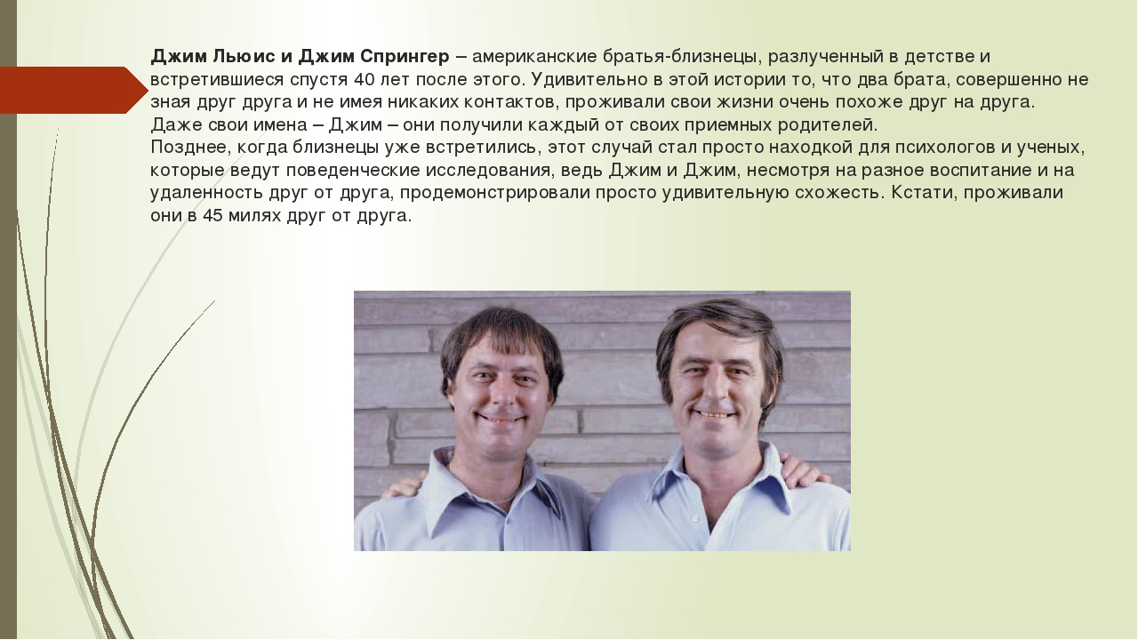 Джим Льюис и Джим Спрингер – американские братья-близнецы, разлученный в детс...