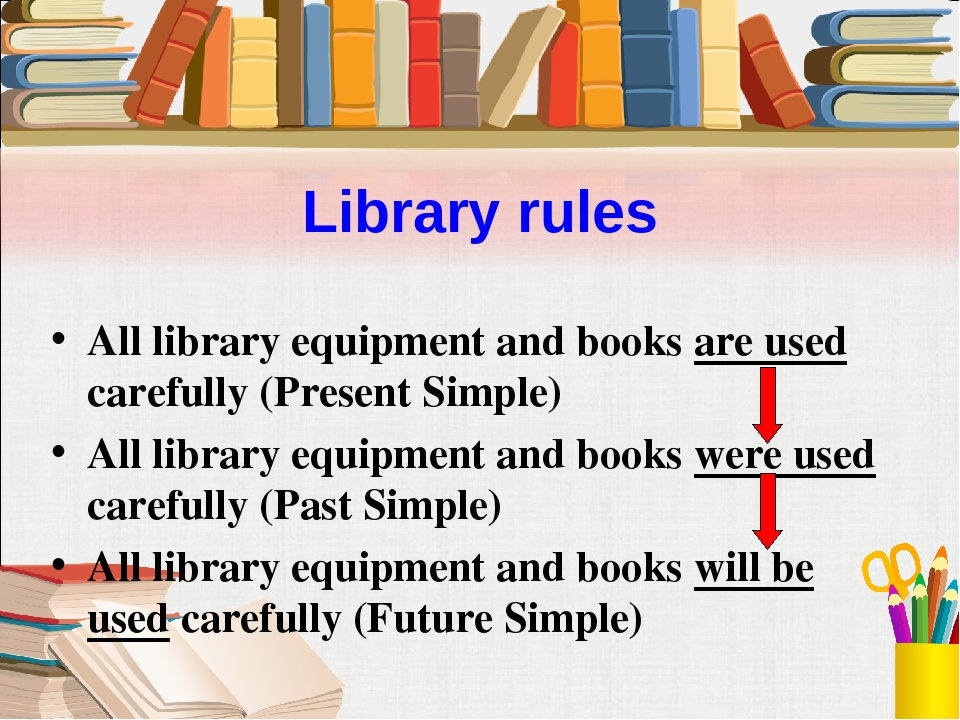 Library rules All library equipment and books are used carefully (Present Sim...