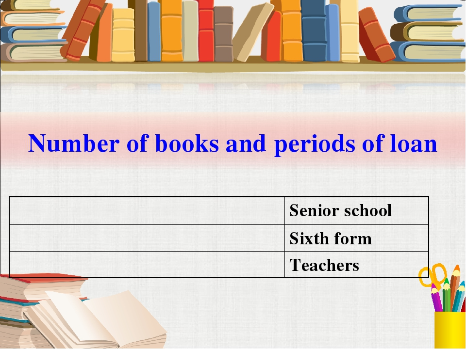 Number of books and periods of loan