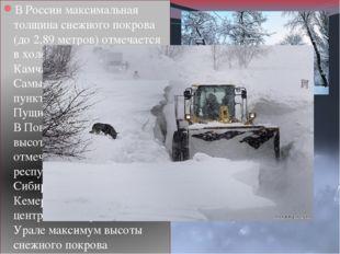 В России максимальная толщина снежного покрова (до 2,89 метров) отмечается в