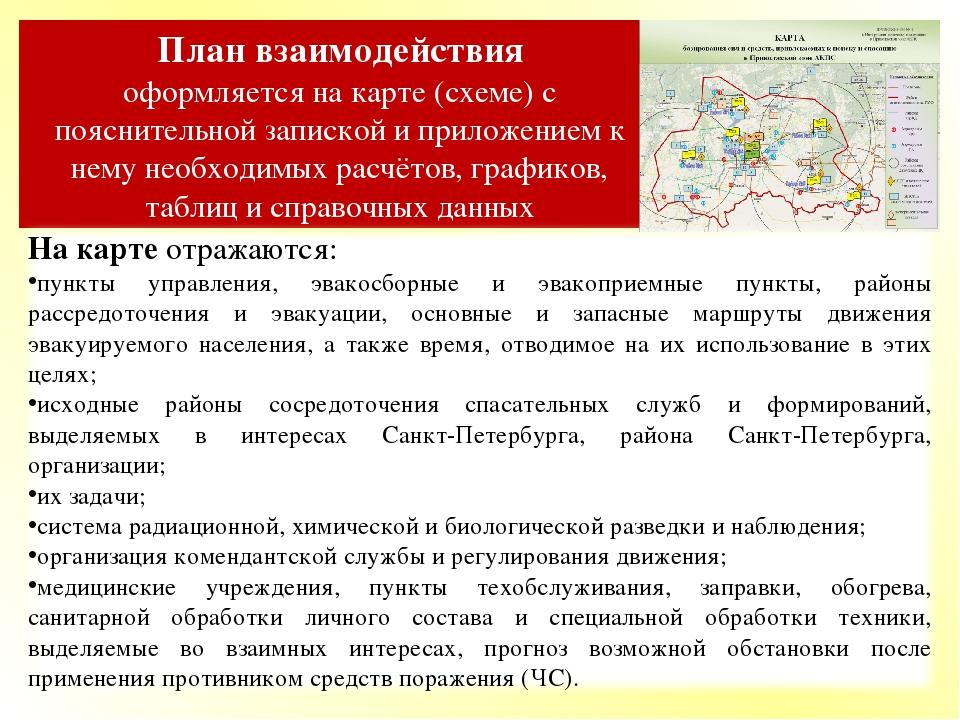 План взаимодействия оформляется на карте (схеме) с пояснительной запиской и п...