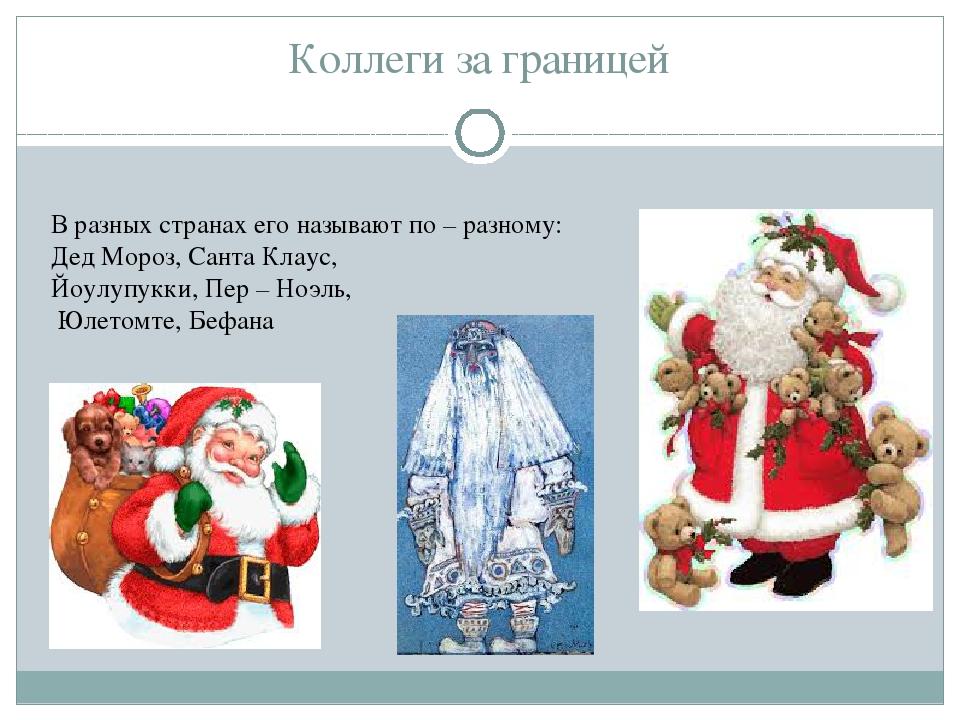 Коллеги за границей В разных странах его называют по – разному: Дед Мороз, Са...